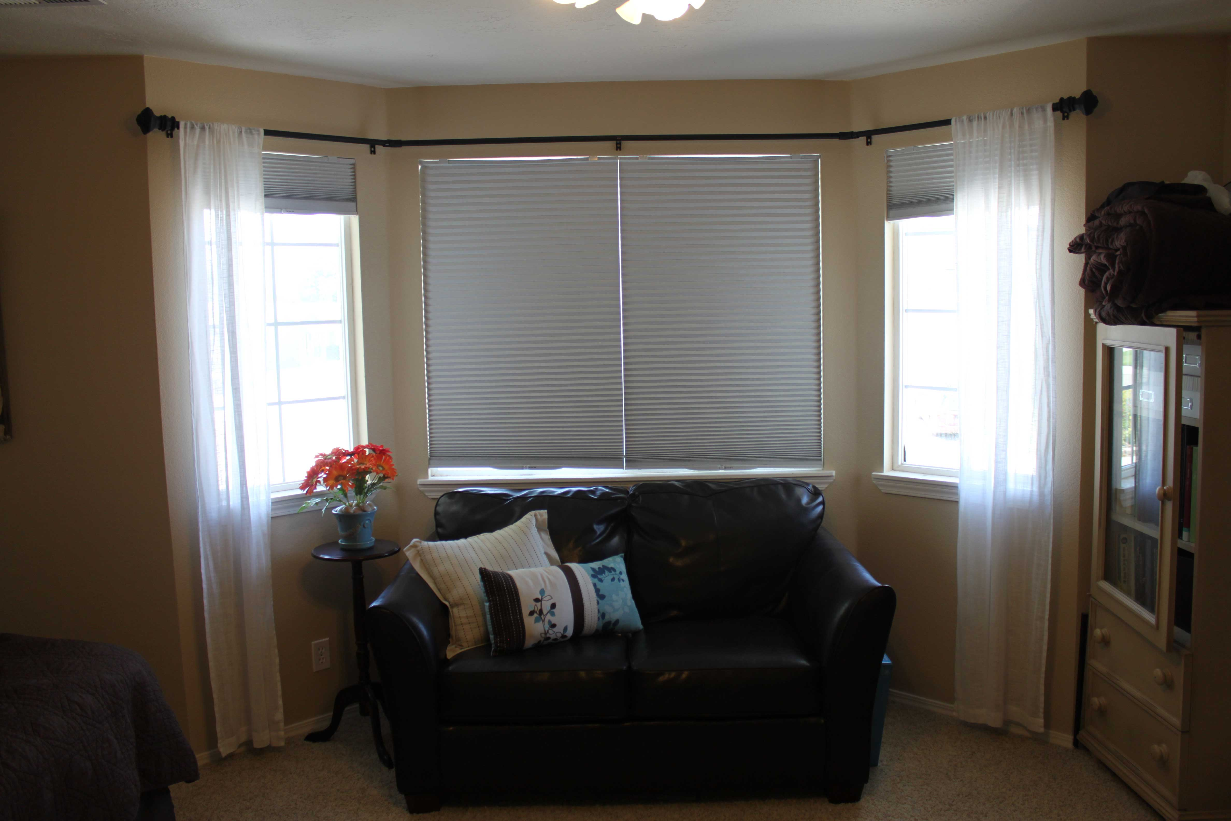 Bay window curtains for living room - Diy Bay Window Curtain Rod Pinching Your Pennies