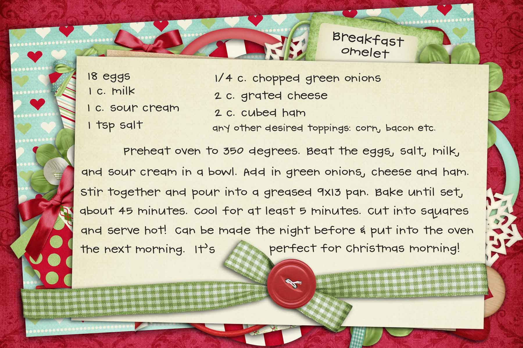 christmas recipe card template free editable
